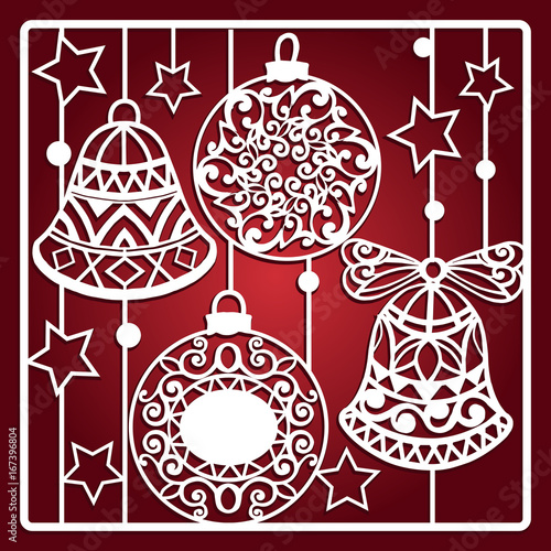 christmas card with bells for laser cutting laser cutting template christmas gift for wood