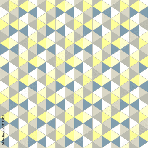 Grey yellow triangle, pattern. Seamless vector design. Abstract background - 167399821