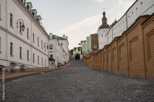 Old road of Pechersk Lavra Monastery in Kiev, Ukraine. Shot on a summer evening with no people in the shot.