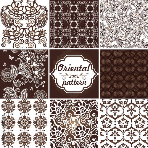 Collection of Oriental ornaments in gold colors with paisley. Floral wallpaper. Decorative ornament for fabric, textile, wrapping paper. Traditional oriental seamless paisley pattern - 167403032