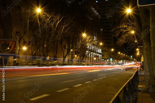 Foto op Aluminium Nacht snelweg Noches por Madrid, calles con exposición larga