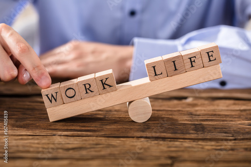 Person Showing Misbalance Between Work And Life Poster