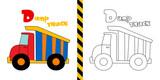 dump truck - vector illustration for coloring page - for children.