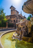 Rome, Italy - The esoteric quarter of Rome, called 'Quartiere Coppedè', designed by architect Gino Coppedè consisting of eighteen palaces and twenty-seven buildings rich in symbologies - 167426213