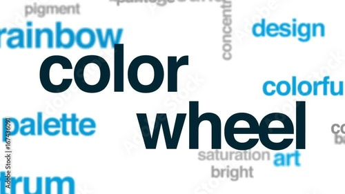 Color wheel animated word cloud, text design animation.