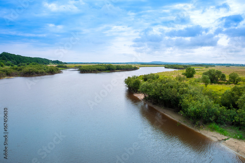 Water summer landscape: river bed and forest