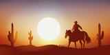 cow-boy - coucher de soleil - cheval - paysage, western, désert - cactus - 167451424