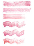 Hand painted red and pink watercolor grunge straight and wavy brush strokes isolated on the white background. Textures for your design.
