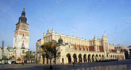 Cloth hall and town hall in the main Market Square, Krakow, Poland