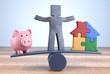 Knetfigur Balance Hausbau Sparen