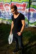 fashion man model on graffity wall
