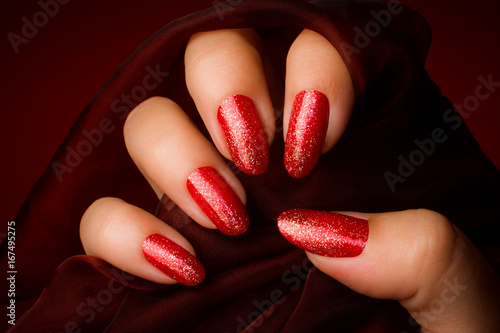 shiny red nails manicure