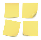 Set of four realistic blank vector yellow post it notes isolated on white background - 167495418