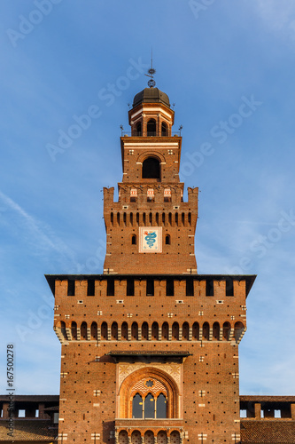 Spoed canvasdoek 2cm dik Milan One of the towers of the Sforza Castle in Milan