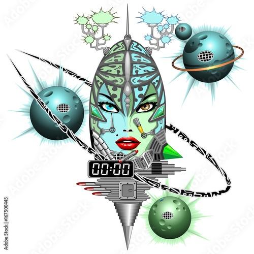 Foto op Plexiglas Draw Girl Cyber Fantasy Robot
