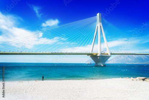 Poster View of Rio Antirrio bridge and Mediterranean sea in Patras, Greece, retro toned