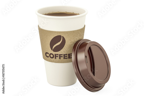 Sticker Disposable cup of coffee, 3D rendering