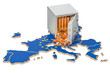 Safe box with golden coins on the map of European Union, 3D rendering