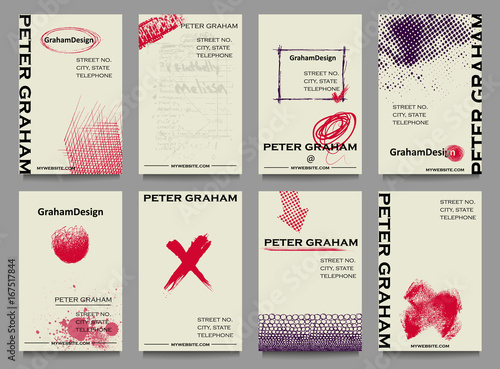 Fototapeta Business Cards - Set of artistic business cards with doodle sketches
