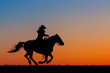 Sillouette of a Cowgirl on Horseback