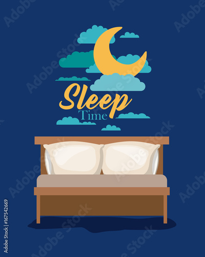 Foto op Canvas Nachtblauw color poster scene night landscape of bed sleep time