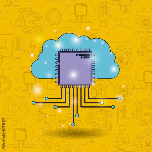 color pattern background of future tech with cloud connected to circuit board