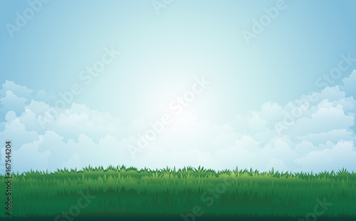 Staande foto Lichtblauw Summer green meadow and mountain peaks landscape with sunset. vector illustration