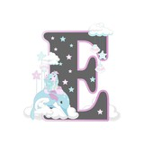 The letters of the alphabet with cute unicorns and ponies. On a white background. Vector illustration.