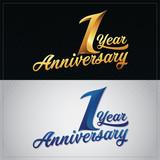 one year anniversary celebration logotype. 1st anniversary logo - 167560897