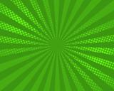 Green pop art comic background, vector illustration. Burst, halftone pattern texture, abstract dots wallpaper. - 167562275