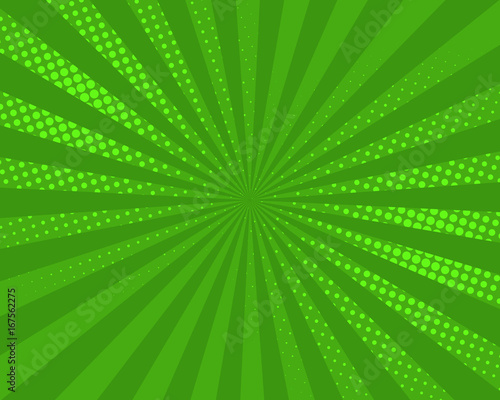 Green pop art comic background, vector illustration. Burst, halftone pattern texture, abstract dots wallpaper. © winvic