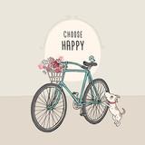 Retro rower z kwiatami i psem