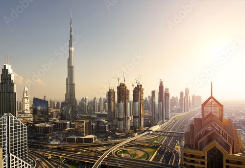 Elevated view of Dubai Downtown Poster