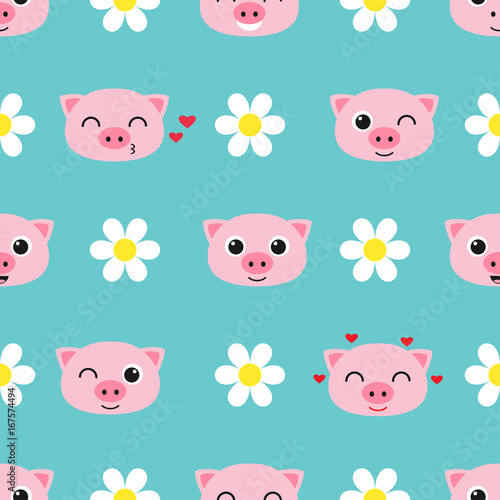 Vector pattern with cute piglets - 167574494