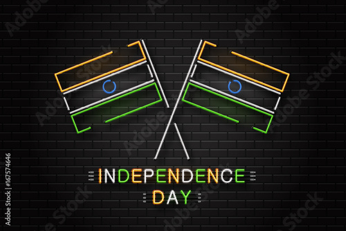 Vector realistic isolated neon sign for 15th august india for 15th august independence day decoration ideas