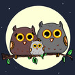 cute owl family and the moon background - 167577025