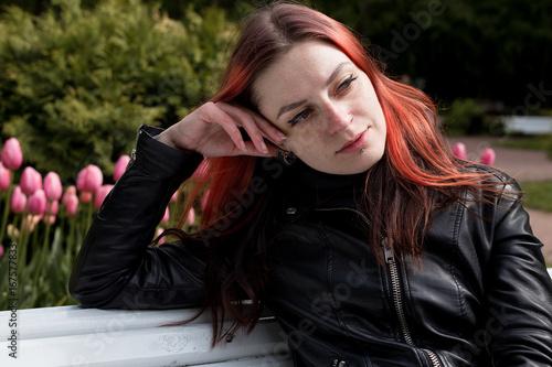Juliste Red hair girl in flower