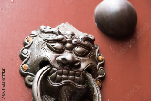 Chinese traditional lion shape door bell Poster