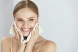 Fototapety Cleaning Face Skin. Beautiful Happy Girl Washing Face