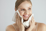 Face Washing. Happy Woman Drying Skin With Towel - 167579488