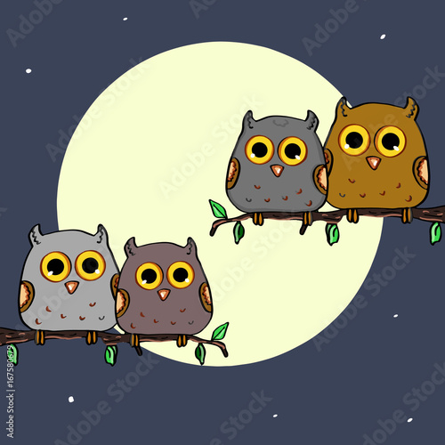 Cute owls sitting in a tree and the moon background
