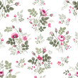 seamless floral pattern vith rose bouquet on white background