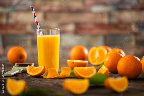 Deurstickers Sap Glasses of fresh organic orange juice.