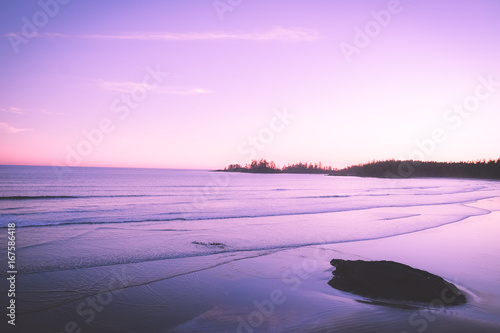 Tuinposter Purper Sunset surfing