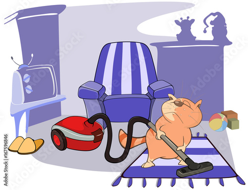 Illustration of a Cute Cat Housecleaning