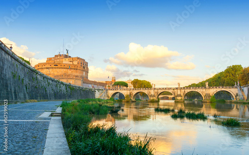 Tuinposter Rome Castel Sant'Angelo in Rome during sunset, Italy