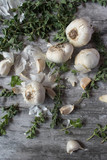 top view garlic and oregano on rustic table - 167602426