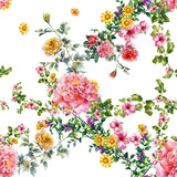 Watercolor painting of leaf and flowers, seamless pattern on white background - 167603077