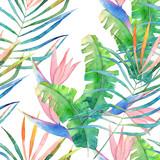 Abstract seamless pattern. Watercolor jungle print. Hand drawn illustration - 167605406
