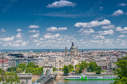 City landscape with  Szechenyi Chain Bridge and Danube river